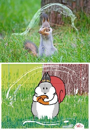 Анимация Белка обладает магией воды