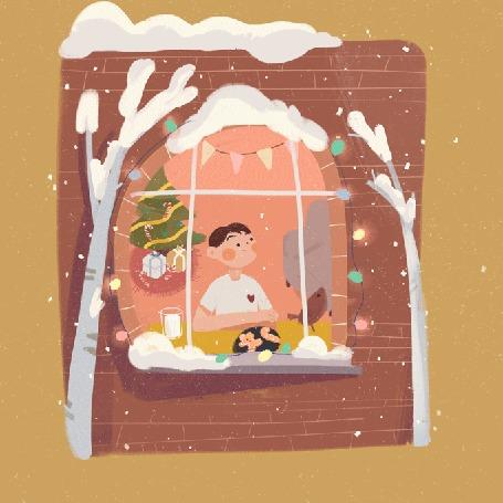 Анимация Мальчик сидит перед окном, за которым идет снег