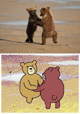 Анимация Два медвежонка танцуют