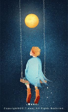 Анимация Девочка сидит на качели, by Maoi