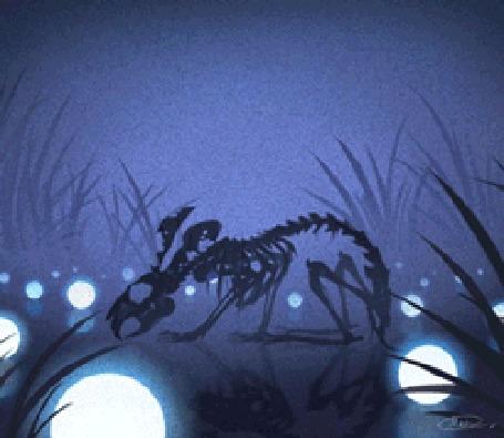 Анимация Кролик в виде скелета на фоне неба, by maskman626