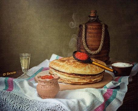Анимация На столе стоят блины с икрой, сметаной и рюмкой водки (Гуляй Масленица), от Барков