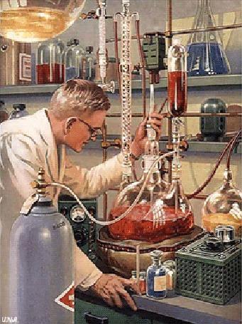 Анимация Советский ученый-исследователь, доктор химических, биологических и медицинских наук, в своей лаборатории, проводит химические исследования или испытания, чтобы в будущем приготовить нужный ему препарат, возможно будущее лекарство для медицины от какого-то тяжелого заболевания, By Илья