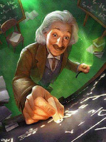 Анимация Ученый, физик-теоретик Альберт Эйнштейн, держа в левой руке трубку для курения, находясь в своей лаборатории, в которой что-то практикует, исследует либо пытается что-то создать, включая сюда также формулу будущих медицинских препаратов от тяжелых болезней, пишет какие-то формулы на доске, By Илья