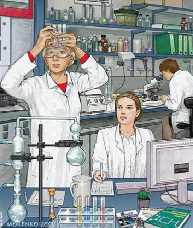Анимация Три молодые девушки-доктора, лаборантки, студентки или медсестры, находятся в медицинской лаборатории одной из городских больниц, поликлиники, института или медицинского училища, где повсюду разложен различный инвентарь, включая различное оборудование и химикаты, что-то изучают, исследуют в пробирках, за компьютером и под микроскопом или создают что-то, возможно какое-то лекарство для медицины By Илья, оригинал картинки от Morenko 2007