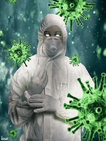 Анимация Изображенный на фоне с зелеными цветовыми оттенками и болезнетворных вирусных бактериях лаборант, одетый в белый защитный костюм и защитную дыхательную маску, By Илья