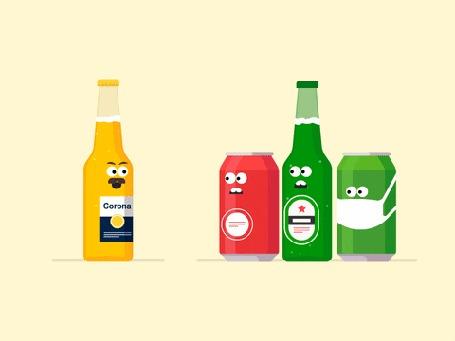 Анимация Бутылка пива Corona наводит ужас на других