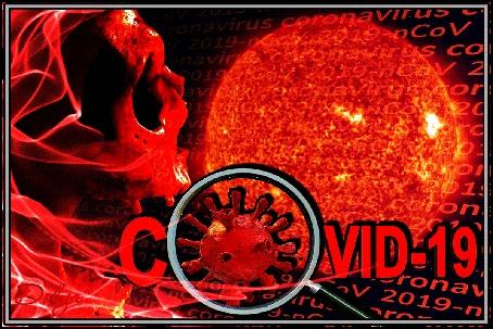 Анимация На фоне пылающей Земли изображен огненный вирус kovid 2019-2020. (COVID - 19)