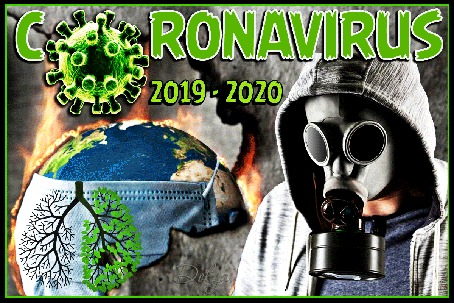 Анимация На тлеющем фоне вращается пылающая огнем земля, рядом стоит человек в противогазе (CORONAVIRUS 2019-2020)