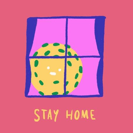 Анимация Желтая бактерия за окном (Stay home / Оставайтесь дома)