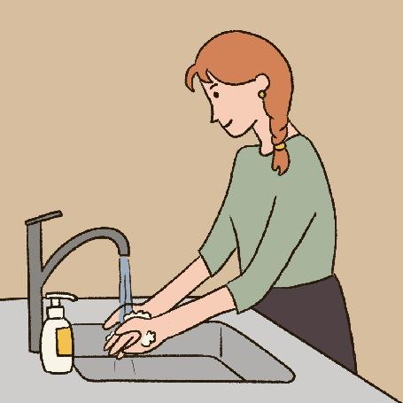 Анимация Девушка тщательно моет руки, автор carolynn yoe