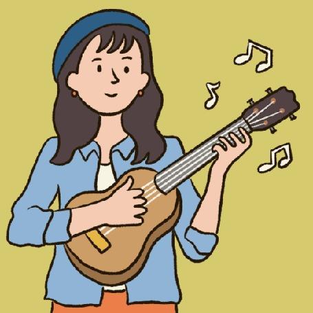 Анимация Девочка играет на гитаре