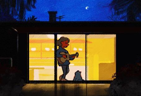 Анимация Парень играет на гитаре, стоя перед кошкой у окна, by Louie Zong