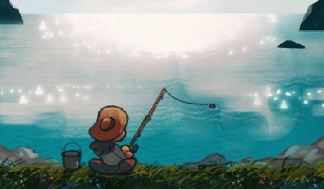 Анимация Девочка на рыбалке, by Louie Zong