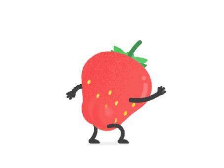 Анимация Клубника танцует на белом фоне