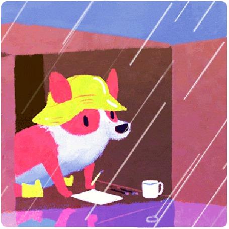 Анимация Собака породы вельш-корги сидит в коробке, укрываясь от дождя