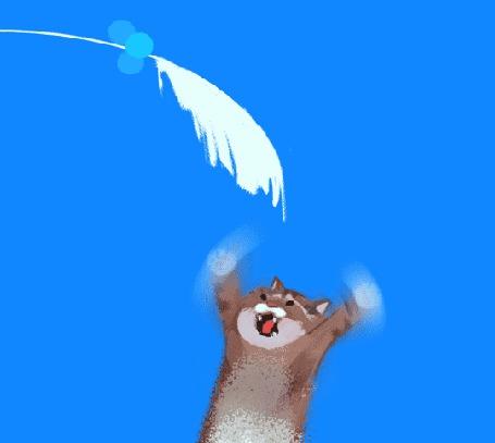 Анимация Кот подпрыгивает к растению, by Louie Zong
