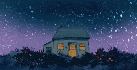 Анимация Ночное небо над домом, by Louie Zong