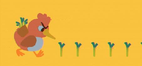 Анимация Птица срывает цветы, by Louie Zong