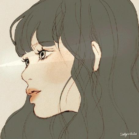 Анимация Моргающая девушка с длинными волосами