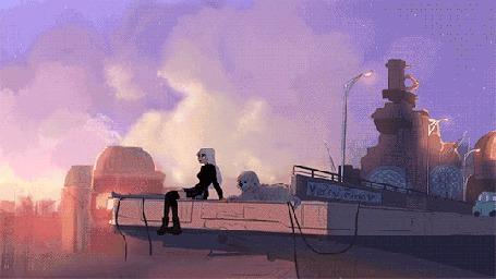 Анимация Девушка сидит с собакой на крыше во время заката by debbie balboa