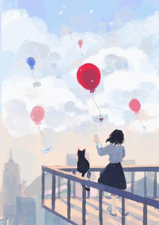 Анимация Девочка и кошка смотрят на воздушные шары в небе