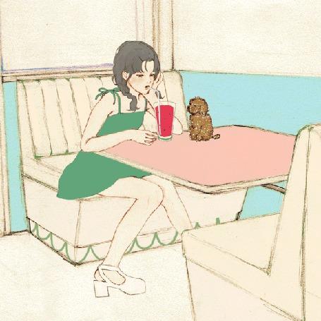 Анимация Девочка за столиком с трубочкой во рту, на котором сидит щенок