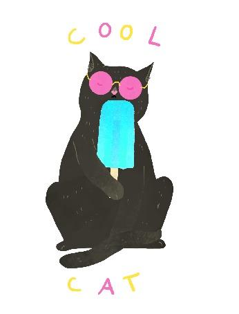 Анимация Черный кот в очках с мороженым в лапе, (cool cat / классный кот)