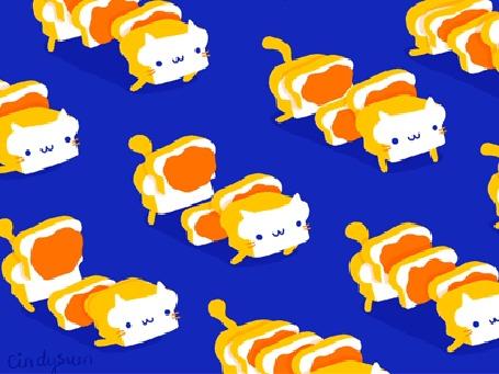Анимация Белые коты-сэндвичи на синем фоне