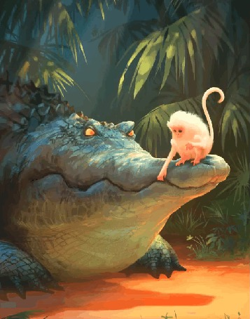 Анимация Обезьяна сидит на пасти крокодила, автор Nikolai Lockertsen