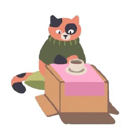 Анимация Пестрая кошечка в свитере пьет кофе из чашки на картонной коробке, by ru_swatkins