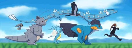 Анимация Покемоны под голубым небом, by Chiakiro