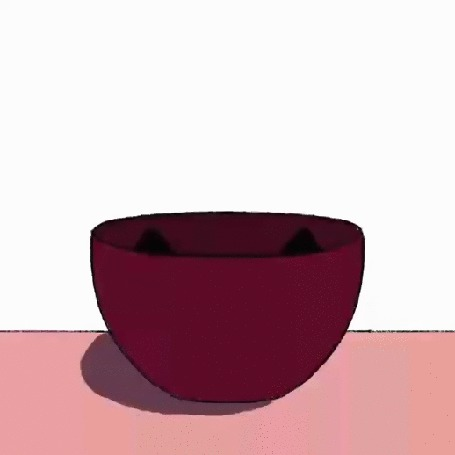 Анимация Черный котенок с огромными глазами выглядывает из миски и прячется обратно, by Anusha Tharamal