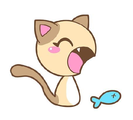 Анимация Котенок рядом с голубой рыбкой