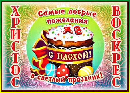 Анимация На фоне лучей кулич с бантом и яйцами (Христос Воскрес. Самые добрые пожелания в светлый праздник!)