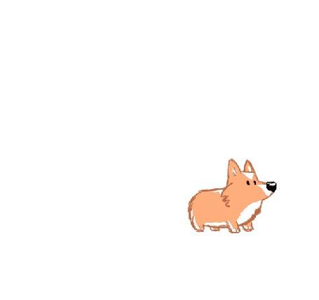 Анимация Корги смотрит на пылесос и быстро убегает от него