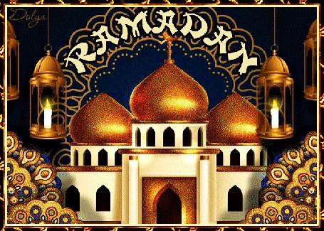 Анимация На фоне ночного неба стоит мечеть, в лампах горят свечи (Рамадан)