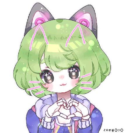 Анимация Девушка с зелеными волосами, с наушниками в виде кошачьих ушек, с нарисованными кошачьими ушками и усика, by zomgO3O