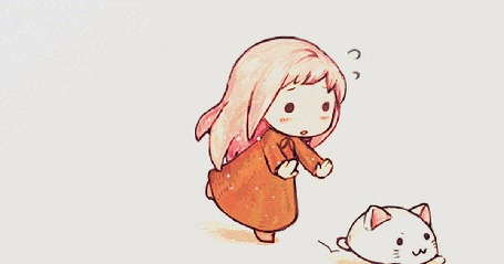 Анимация Белая кошечка убегает от ребенка