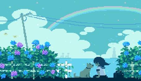 Анимация Девочка и собака сидят возле кустов гортензии