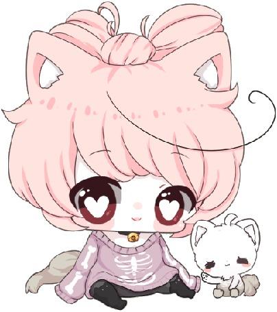 Анимация Чибик с кошачьими ушками, by zomgO3O