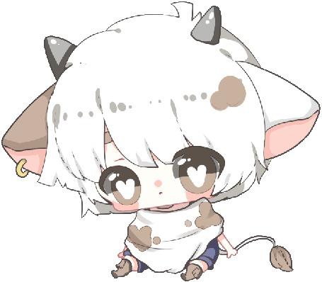 Анимация Чибик-бычок на белом фоне, by zomgO3O
