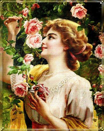 Анимация Красивая нежная Дама, утонченная, и полная Любви, вдыхает восхитительный аромат дивных роз и думает о своем возлюбленном. У них вечером будет жаркое свидание, автор Gala