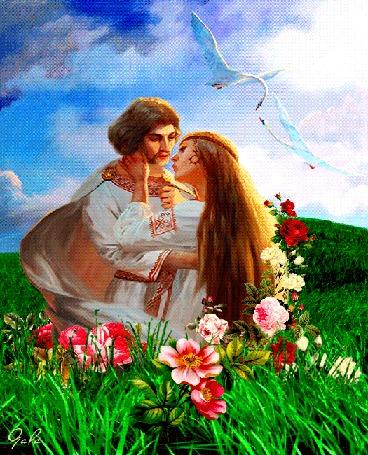 Анимация Красивая влюбленная до безумия пара хочет уже залечь в поле на травяной ковер, а лебеди тоже неистово целуются, все пахнет любовью, верностью, хочется верить, что все это не закончится до самой смерти и никаких измен, автор Gala