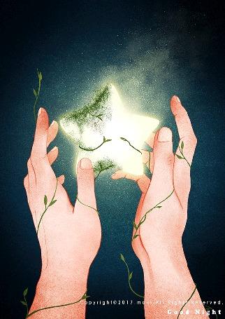 Анимация Мигающая звезда у рук, by Maoi